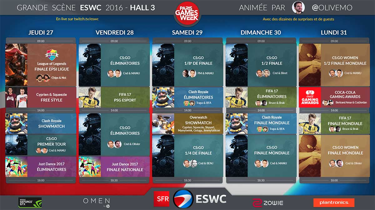 Programme de l'ESWC 2016 à la Paris Games Week